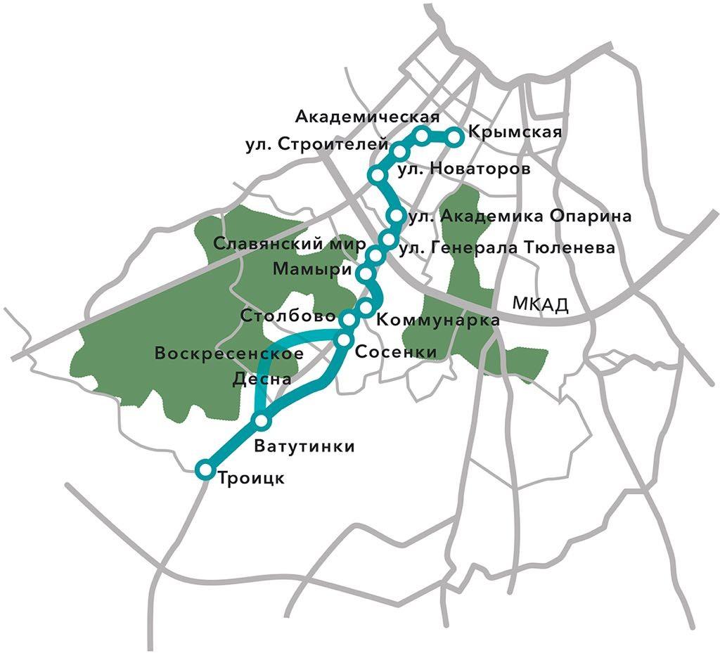 Проектируемая линия метро в Троицк