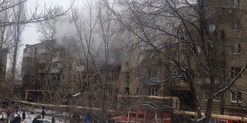 Пострадавший от взрыва газа дом в Саратове